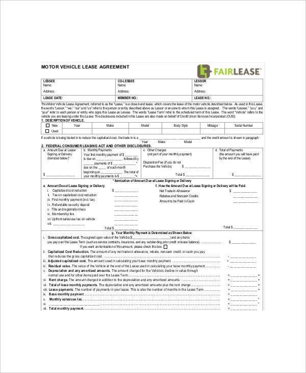 blank motor vehicle lease agreement example
