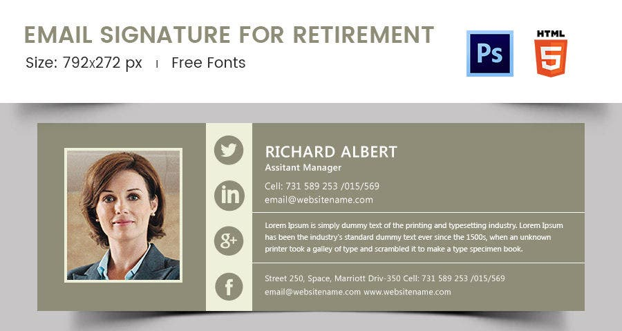 Email Signature for Retirement