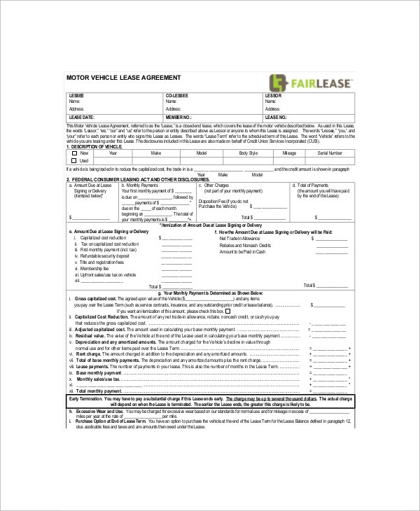 8 Vehicle Lease Templates Free Sample Example Format – Sample Car Lease Agreement