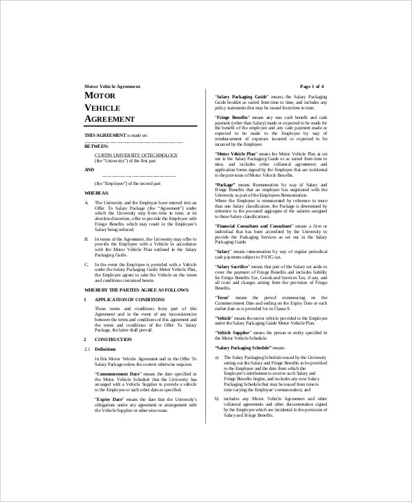 free vehicle lease agreement template1