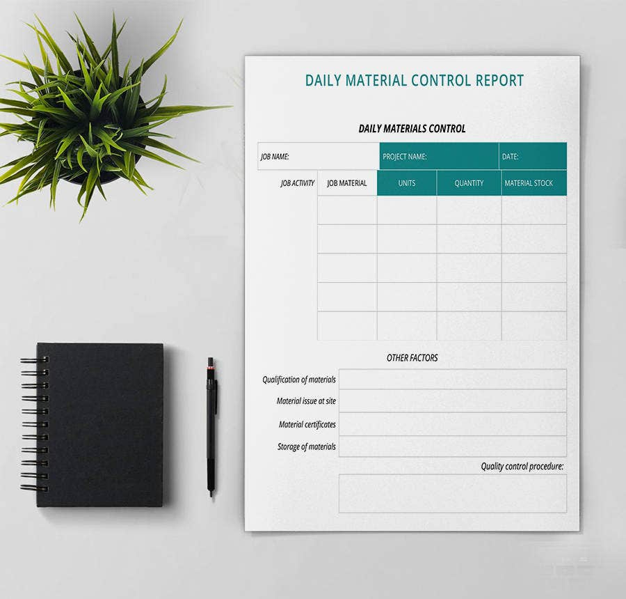 Daily Material Control Report Template