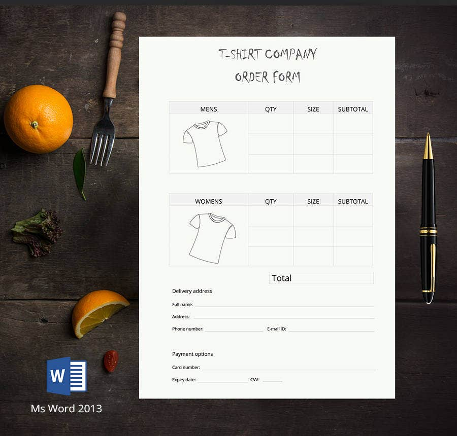 9  free t-shirt order forms