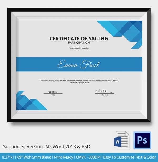 Certificate of Sailing Participation