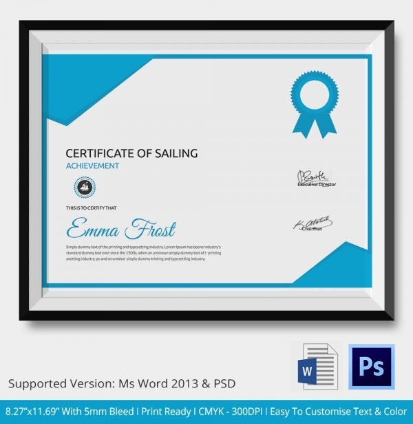 Sailing Certificate of Achievement