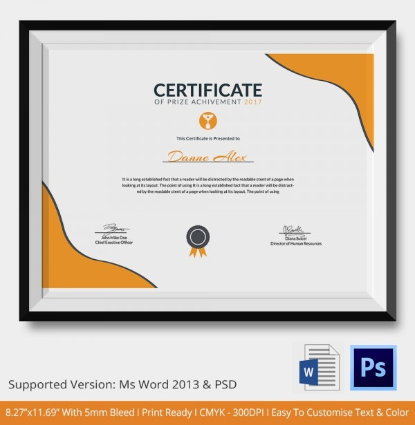 Certificate Of Prize Achievement  Award Paper Template