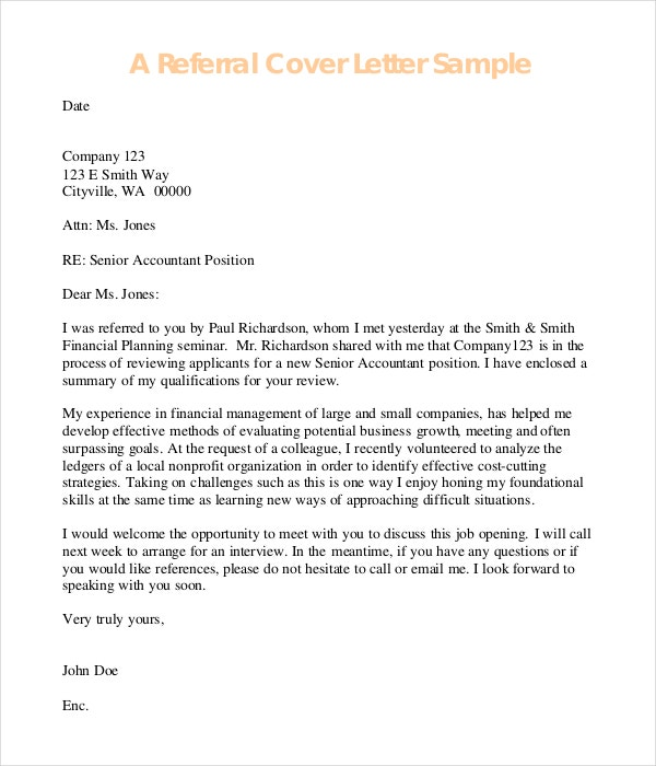 Referral Cover Letter Example