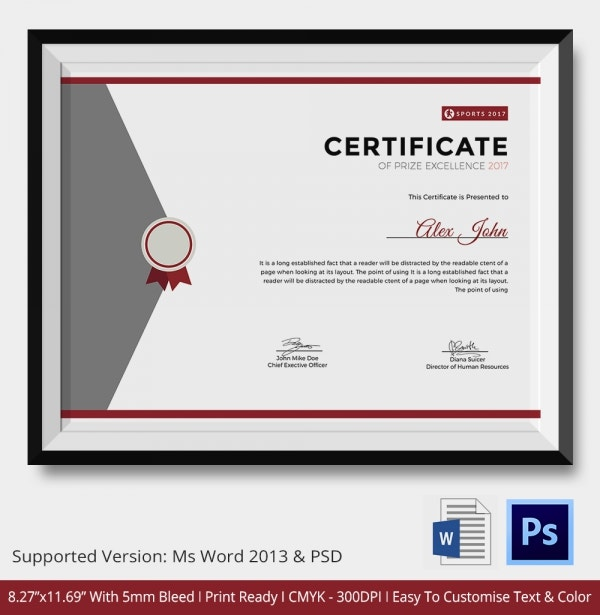 Certificate of Prize Excellence Template