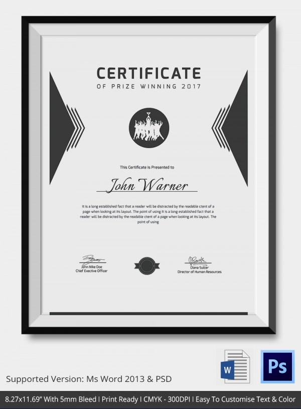 Award certificate template 25 word pdf psd format download prize winner certificate template yelopaper Image collections