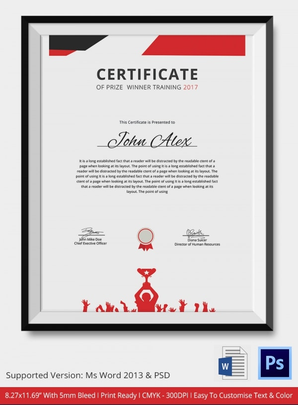 Award Certificate Template 25 Word PDF PSD Format Download – Winner Certificates