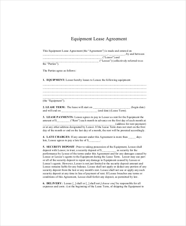 8+ Equipment Lease Templates - Free Sample, Example, Format | Free
