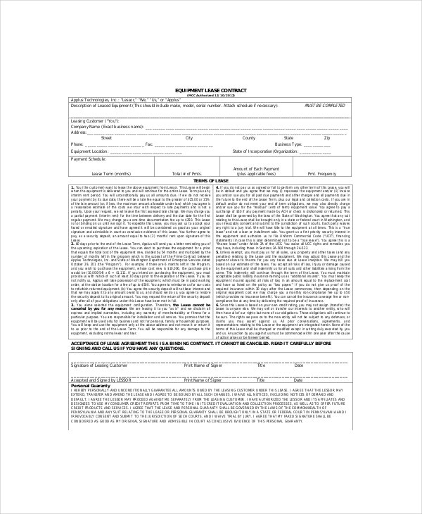 8 Equipment Lease Templates Free Sample Example Format – Equipment Lease Form Template