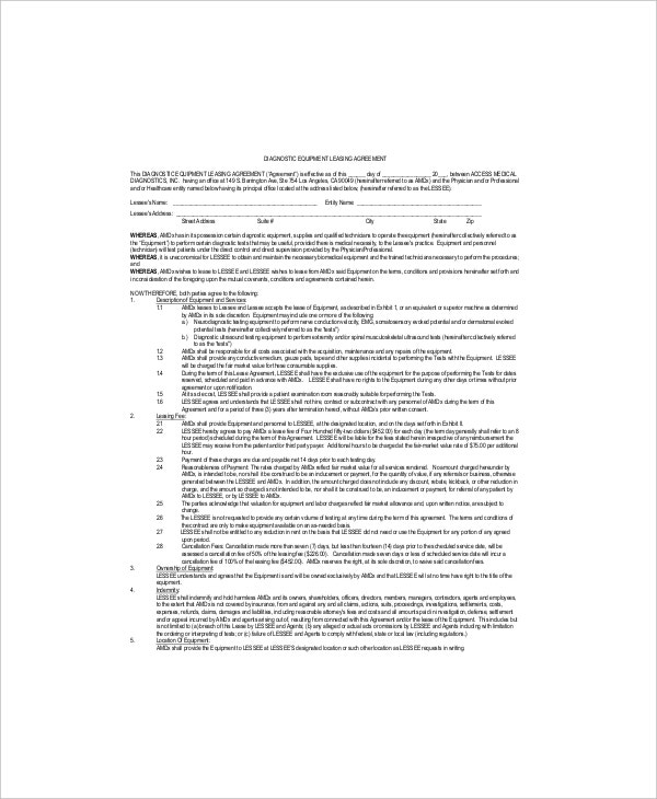 diagnostic equipment leasing agreement1