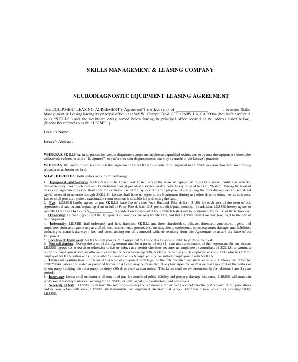 neurodiagnostic equipment leasing agreement
