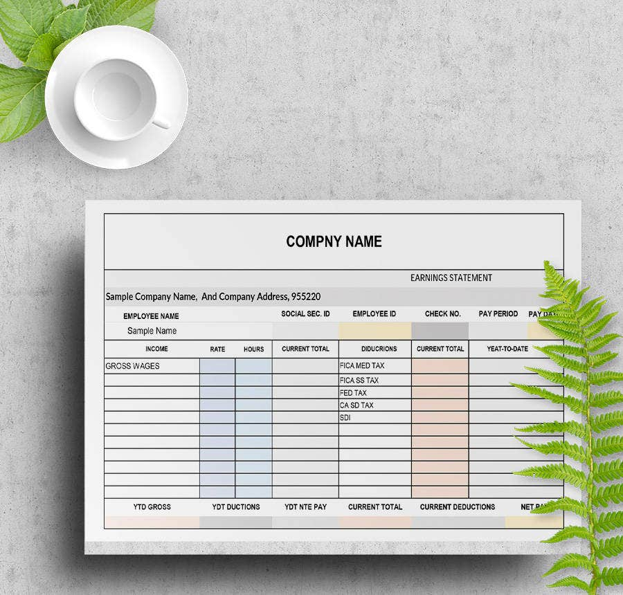 Corporate Business Pay Stub Template  Pay Statement Template