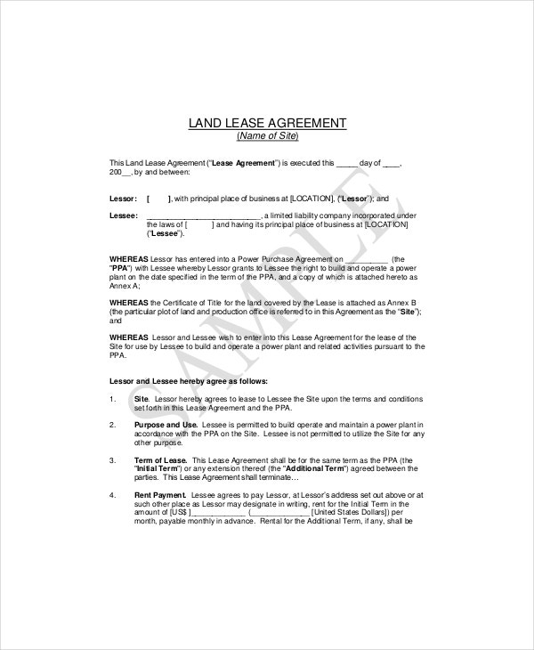 land lease agreement example