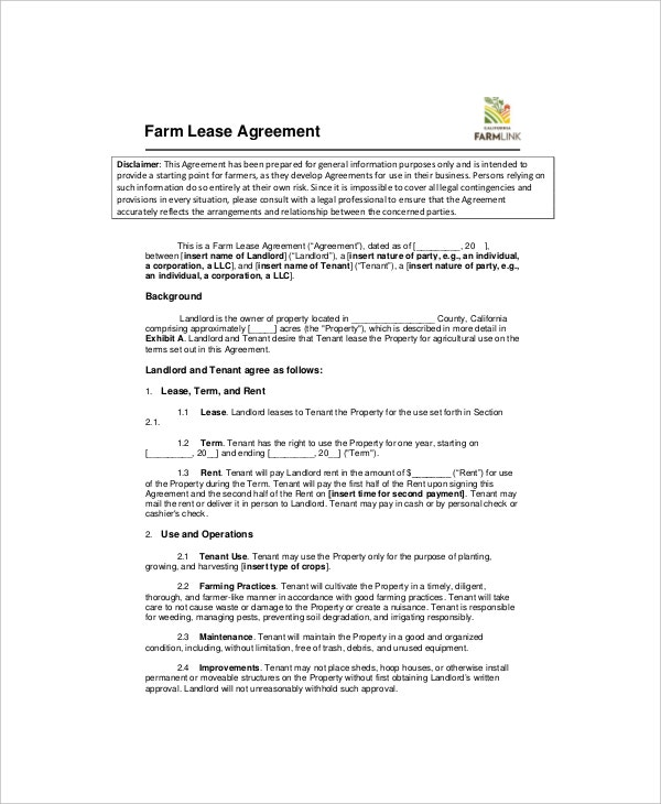 farm land lease agreement template1