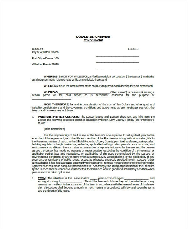 Doc510657 Land Lease Agreement Form Free Land Lease Agreement – Land Lease Agreement Form Free