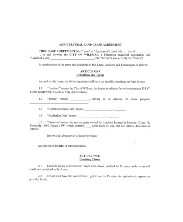 Land Lease Templates  Free Sample Example Format  Free