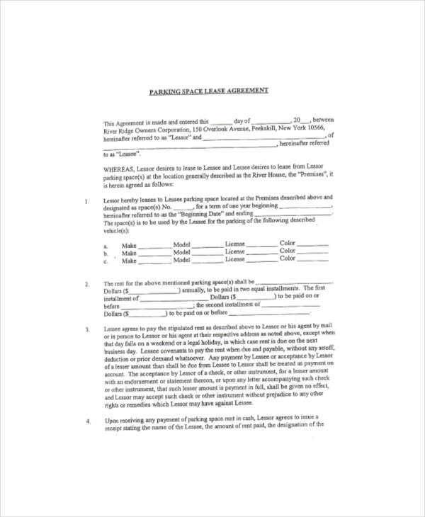 parking space lease agreement