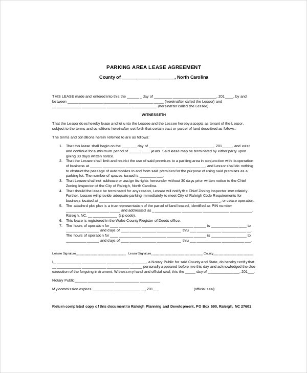 Parking Agreement Template Parking Space Lease Agreement Parking