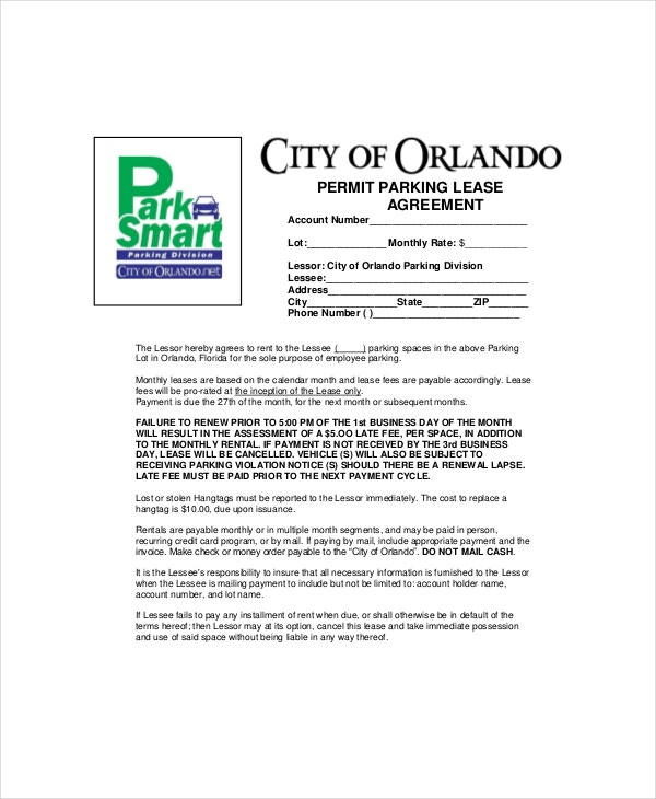 permit parking lease agreement template