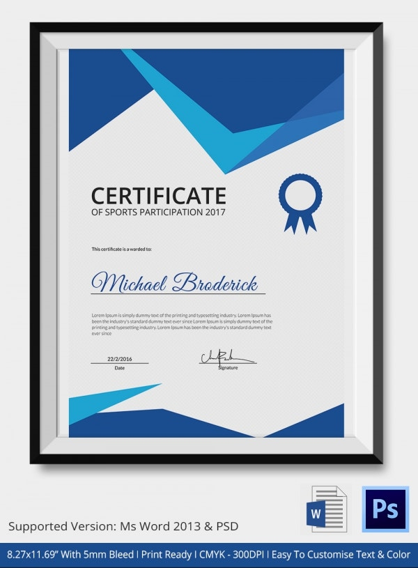 Sports Achievement Certificate 5 Word PSD Format Download – Sport Certificate Templates for Word