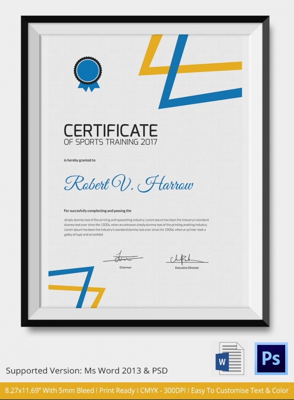 Sports Trainer Achievement Certificate