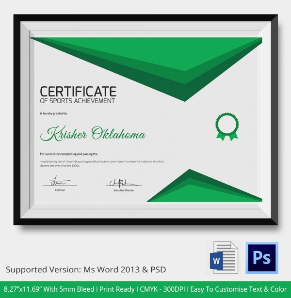 Certificate of Sports Achievement Template