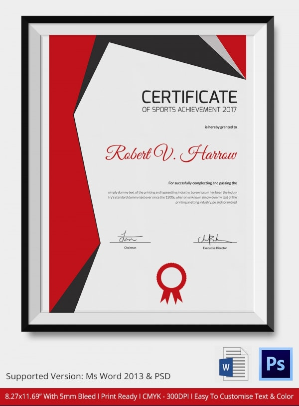Colorful psd sports templates image collection resume ideas sports achievement certificate 5 word psd format download free yadclub Gallery