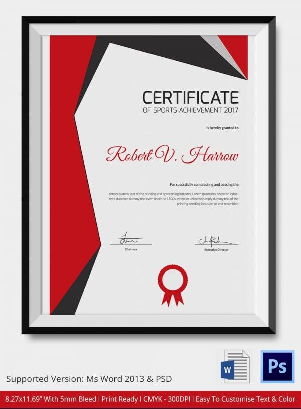 Sports Award Certificate Template Word Mandegarfo
