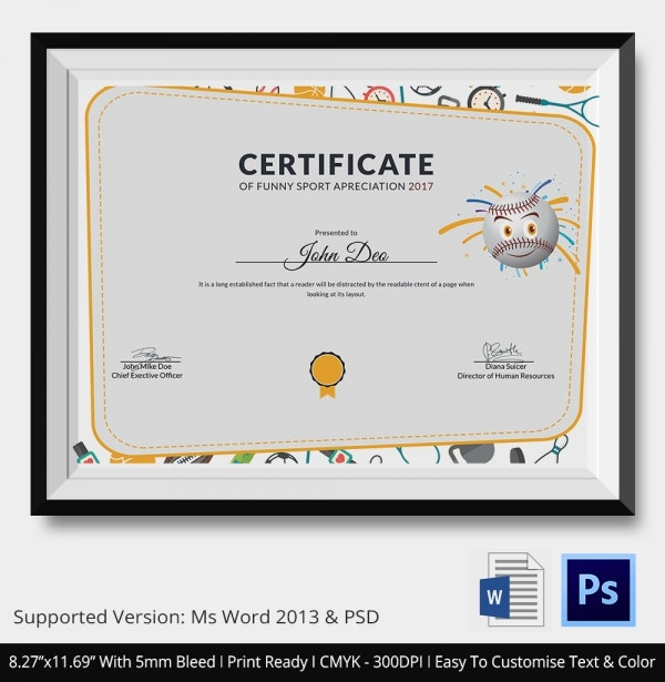 Certificate of Funny Sport Apriciation