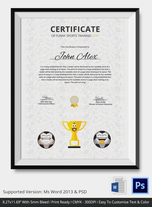funny certificate templates - funny sports certificate 5 word psd format download