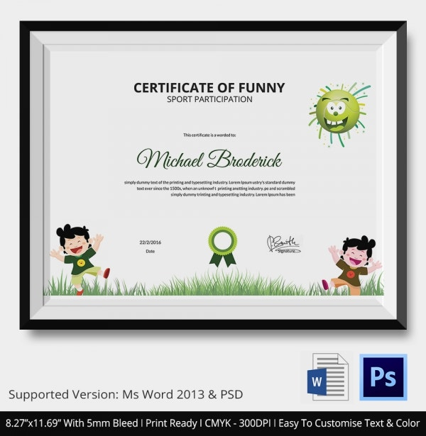 Certificate of Funny Sports Participation