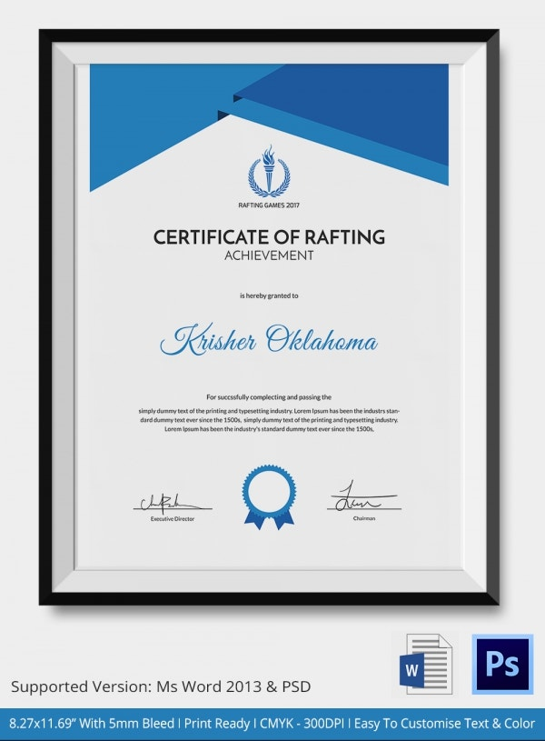 Certificate of Rafting Achievement