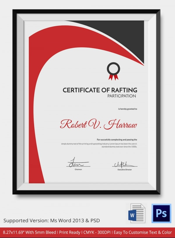 Certificate of Rafting Excellence