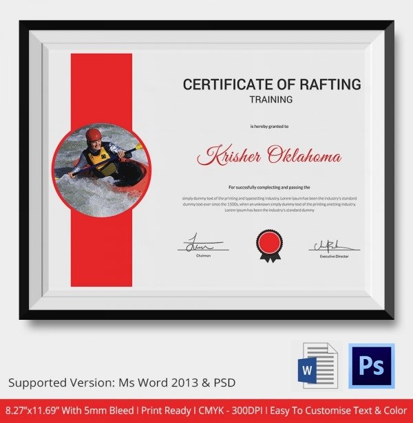 Certificate of Rafting Participation