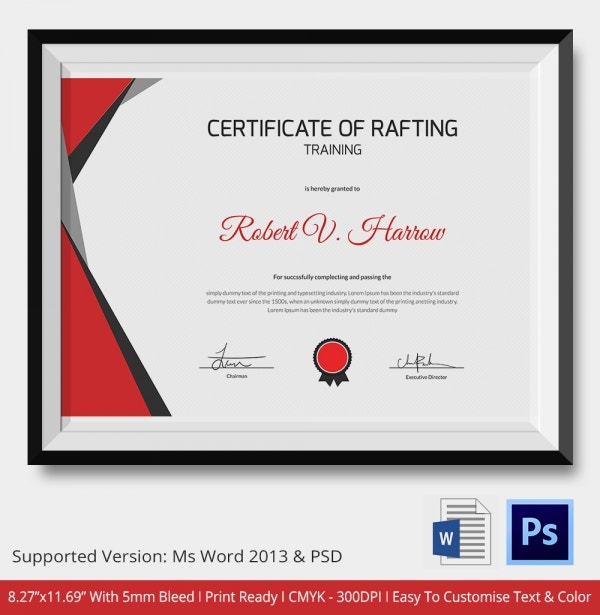 Certificate of Rafting Training