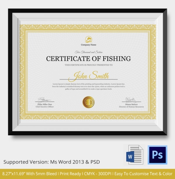 Fishing Certificate - 5+ Word, PSD Format Download | Free ...