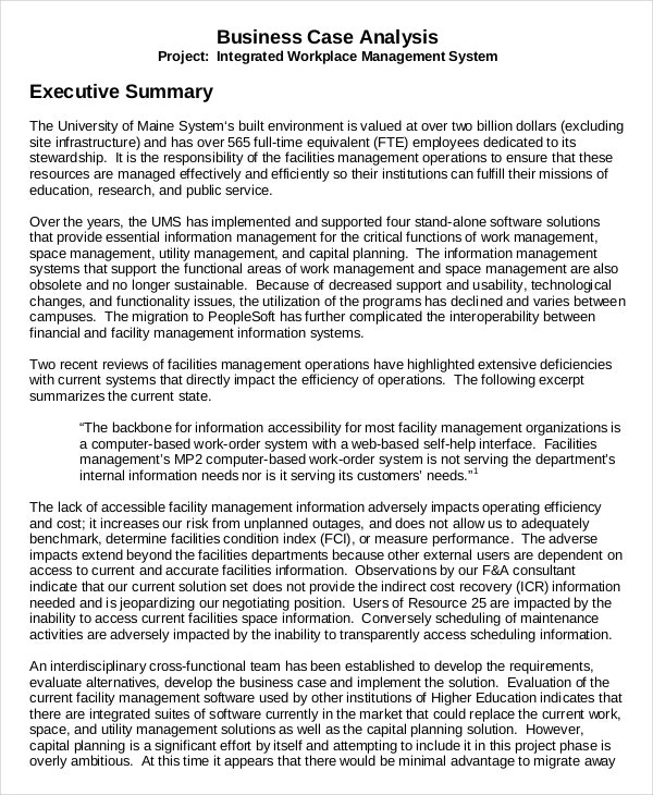 Business Case Executive Summary Example  An Executive Summary