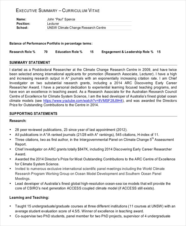 CV Executive Summary Example  Executive Summary Outline Examples Format