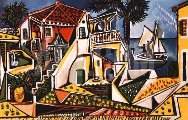 Mediterranean Landscape Geometric Painting