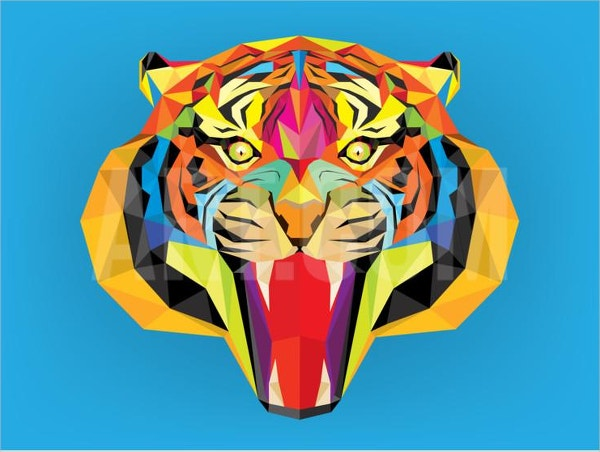 Tiger Head Geometric Painting