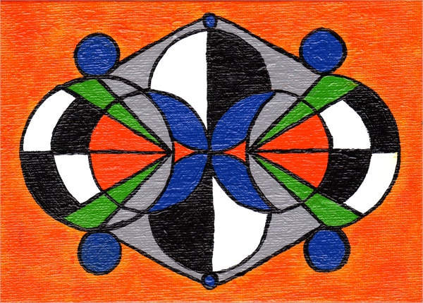 Orange & Blue Geometric Painting