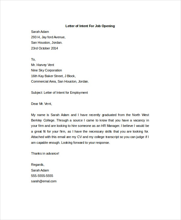 letter of intent for a job opening - Job Opening Letter Of Intent