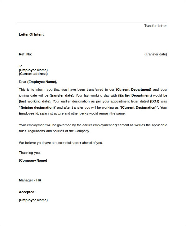 letter of intent for a job transfer template - Letter Of Intent For Employment Template
