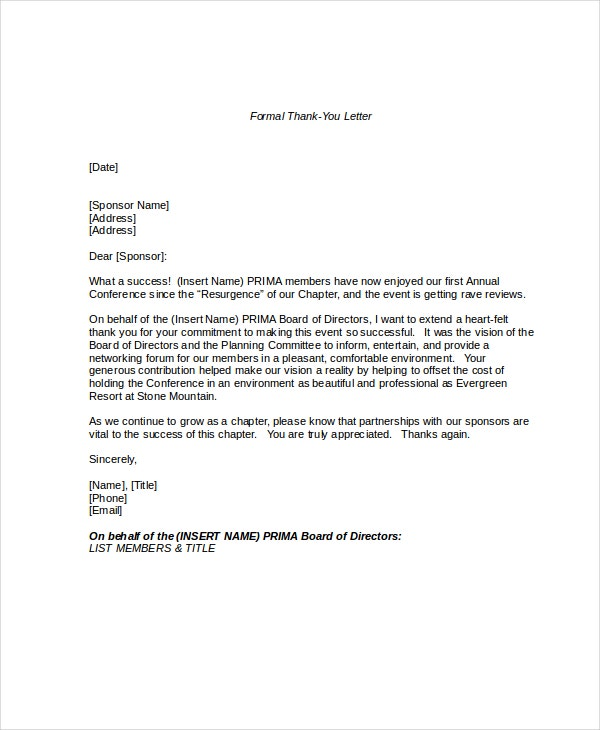 Formal Letter. Formal Thank You Letter Format Formal Letter Format
