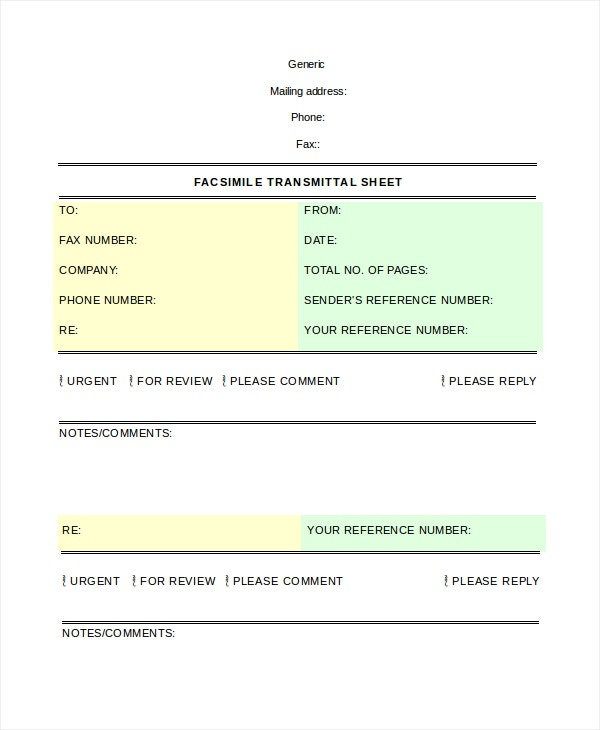 Fax Cover Sheet Template - 15+ Free Word, Pdf Documents Download