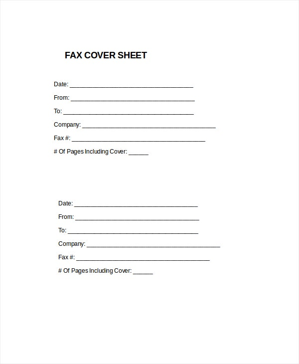 plain fax cover sheet