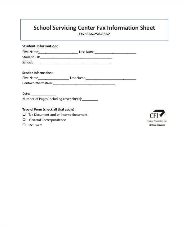 school servicing center fax information cover sheet