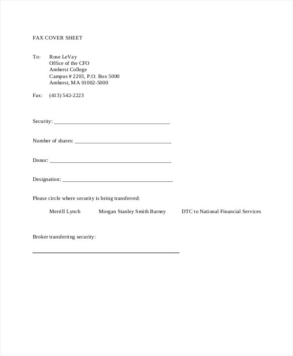 Simple Fax Cover Sheet You Can Download A Pdf Version Of The